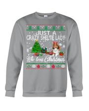 Crazy Sheltie Lady Who Loves Christmas Crewneck Sweatshirt tile