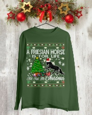 Friesian Horse Just For Christmas Long Sleeve Tee lifestyle-holiday-longsleeves-front-2