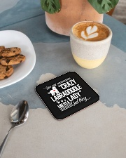 Crazy Labradoodle Lady Square Coaster aos-homeandliving-coasters-square-lifestyle-02