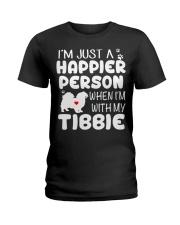 Happier Person Tibetan Spaniel Ladies T-Shirt front