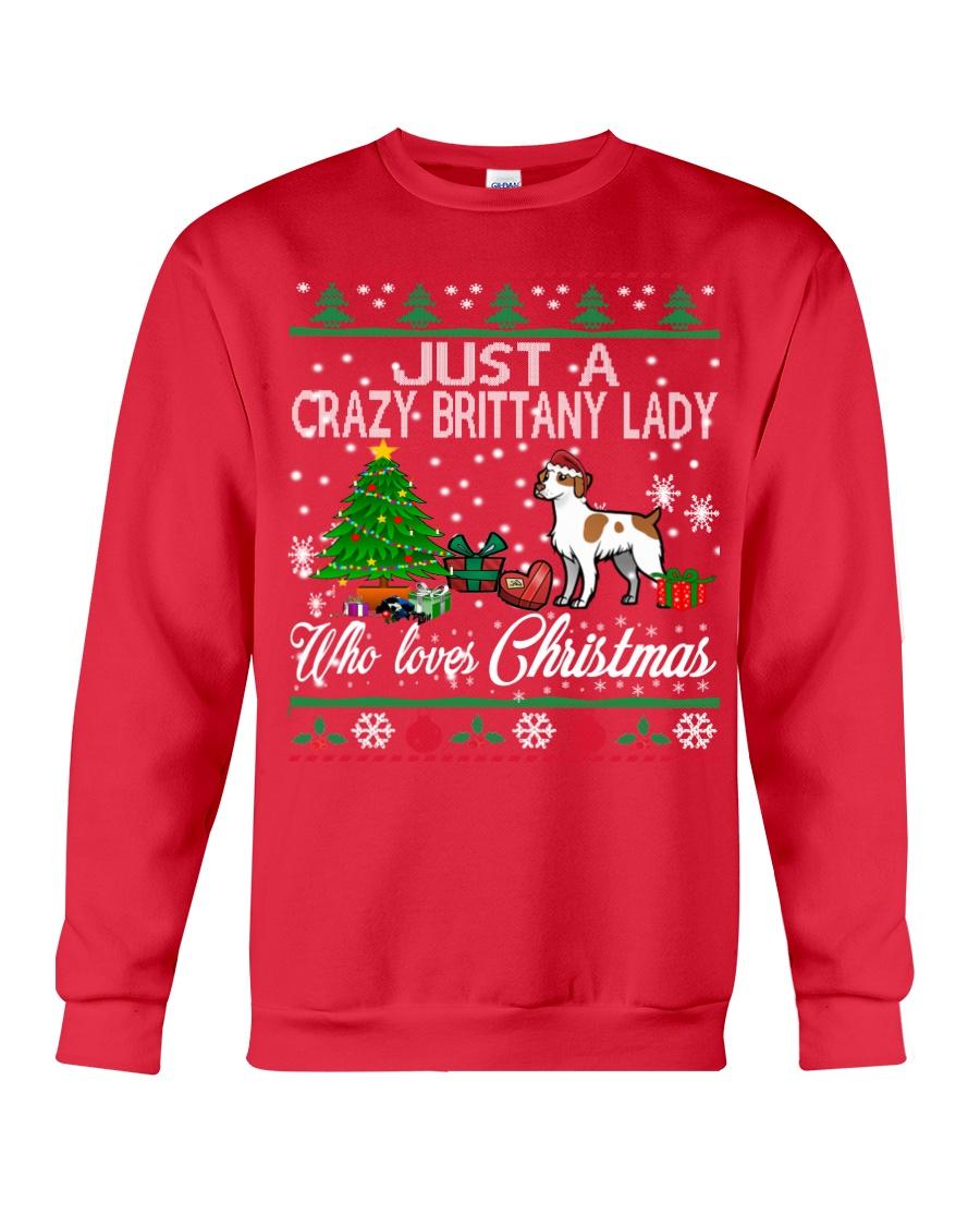 Crazy Brittany Lady Who Loves Christmas Crewneck Sweatshirt