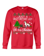 Crazy Brittany Lady Who Loves Christmas Crewneck Sweatshirt front