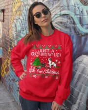 Crazy Brittany Lady Who Loves Christmas Crewneck Sweatshirt lifestyle-unisex-sweatshirt-front-3
