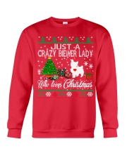 Crazy Lady Loves Biewer And Christmas Crewneck Sweatshirt front