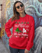 Crazy Lady Loves Biewer And Christmas Crewneck Sweatshirt lifestyle-unisex-sweatshirt-front-3