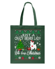 Crazy Lady Loves Biewer And Christmas Tote Bag thumbnail
