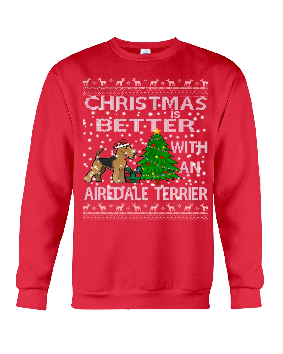Christmas Is Better With An Airedale Terrier Crewneck Sweatshirt