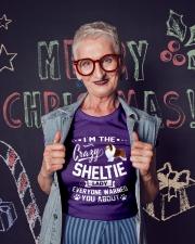 Crazy Sheltie Lady Ladies T-Shirt lifestyle-holiday-crewneck-front-3
