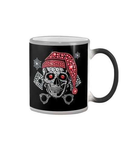 Biker Diamond Skull Merry Christmas