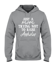 JUST A MOM TRYING NOT TO RAISE A HOLES Hooded Sweatshirt thumbnail