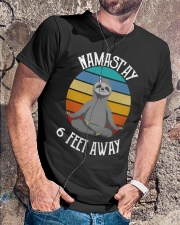 Namast'ay 6 Feet Away Sloth shirt Classic T-Shirt lifestyle-mens-crewneck-front-4