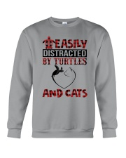 EASILY DISTRACTED BY TURTLES AND CATS Crewneck Sweatshirt front