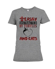 EASILY DISTRACTED BY TURTLES AND CATS Premium Fit Ladies Tee thumbnail