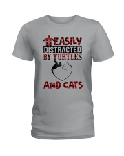 EASILY DISTRACTED BY TURTLES AND CATS Ladies T-Shirt thumbnail