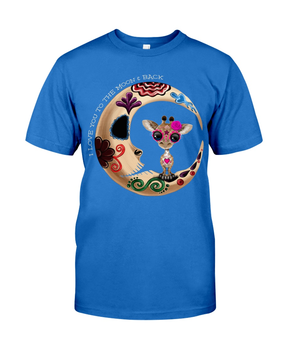 GIRAFFE LOVE YOU TO THE MOON AND BACK Premium Fit Mens Tee