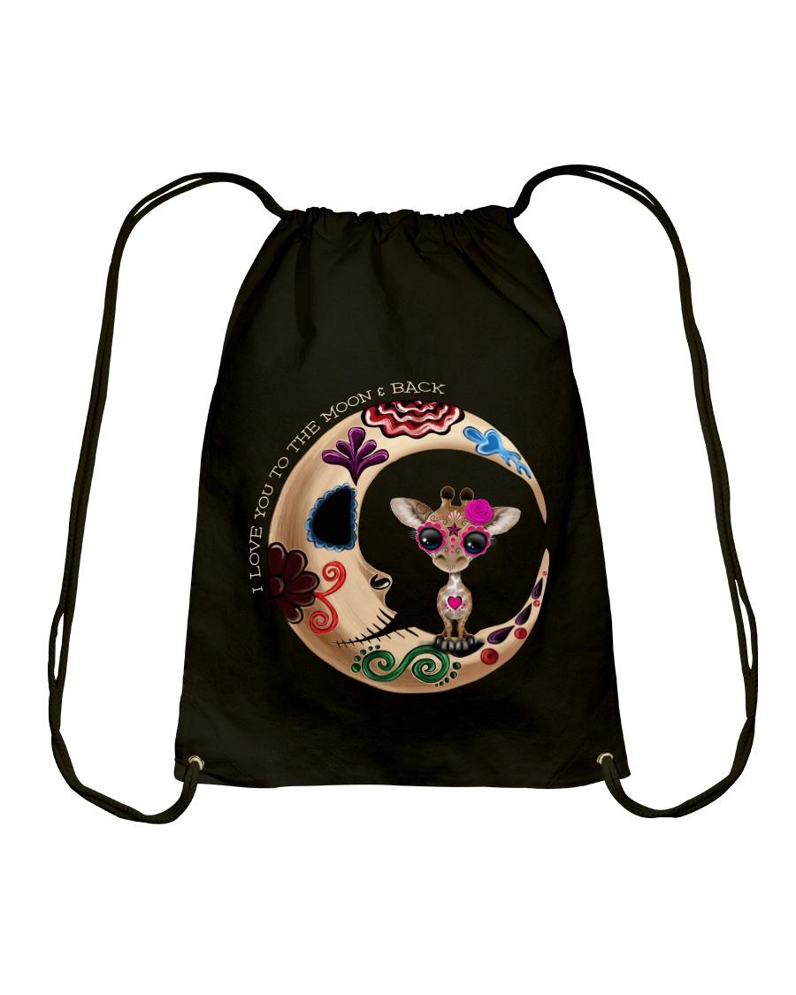 GIRAFFE LOVE YOU TO THE MOON AND BACK Drawstring Bag