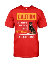 THIS PERSON MAY TALK ABOUT ROTTWEILER AT ANY TIME Premium Fit Mens Tee front