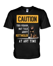 THIS PERSON MAY TALK ABOUT ROTTWEILER AT ANY TIME V-Neck T-Shirt tile