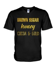 BROWN SUGER - HONEY - COCOA n GOLD V-Neck T-Shirt thumbnail