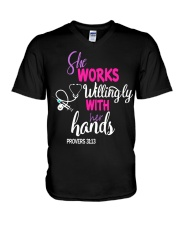 SHE WORKS WILLINGLY WITH HER HANDS V-Neck T-Shirt thumbnail