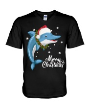 DOLPHIN CHRISTMAS V-Neck T-Shirt thumbnail