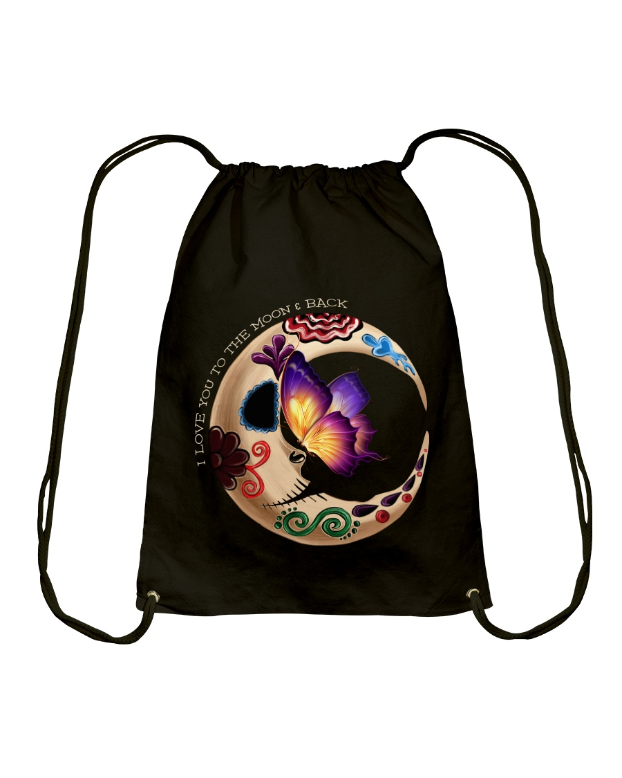 I LOVE BUTTERFLY TO THE MOON AND BACK Drawstring Bag showcase