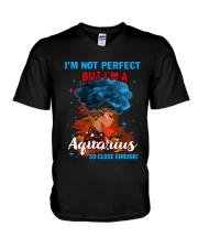 AQUARIUS CLOSE ENOUGH TO PERFECT V-Neck T-Shirt thumbnail