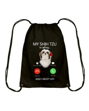 MY SHIH TZU IS CALLING Drawstring Bag thumbnail