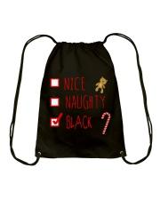 NICE NAUGHTY BLACK Drawstring Bag thumbnail