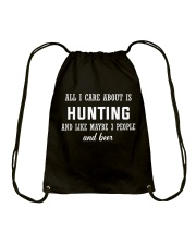ALL I CARE ABOUT HUNTING AND BEER Drawstring Bag tile