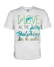 I LOVE DOLPHINS V-Neck T-Shirt thumbnail