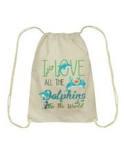 I LOVE DOLPHINS Drawstring Bag thumbnail
