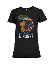 SHE BECAME A NURSE Premium Fit Ladies Tee thumbnail