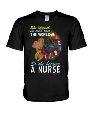 SHE BECAME A NURSE V-Neck T-Shirt thumbnail