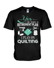 I PLANT ON QUILTING V-Neck T-Shirt thumbnail