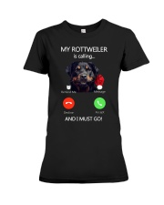 MY ROTTWEILER IS CALLING Premium Fit Ladies Tee thumbnail