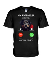 MY ROTTWEILER IS CALLING V-Neck T-Shirt thumbnail