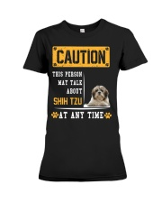 THIS PERSON MAY TALK ABOUT SHIH TZU Premium Fit Ladies Tee thumbnail