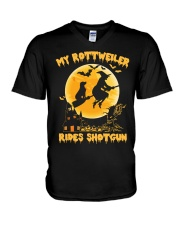 MY ROTTWEILER RIDES SHOTGUN V-Neck T-Shirt tile