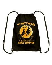 MY ROTTWEILER RIDES SHOTGUN Drawstring Bag thumbnail