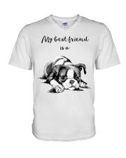 MY BEST FRIEND IS A BOSTON TERRIER V-Neck T-Shirt thumbnail