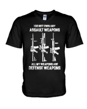 ALL MY WAPONS ARE DEFENSE WEAPONS V-Neck T-Shirt thumbnail
