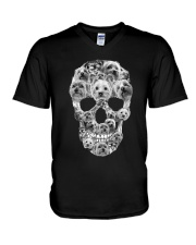 YORKSHIRE TERRIER SKLL V-Neck T-Shirt thumbnail
