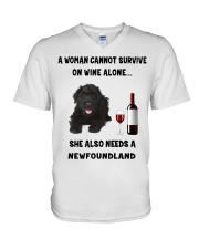 SHE ALSO NEEDS A-NEWFOUNDLAND V-Neck T-Shirt thumbnail