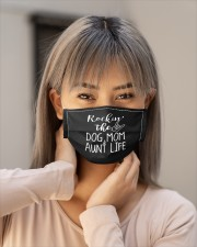 rockin the dog mom aunt life t mask Cloth Face Mask - 5 Pack aos-face-mask-lifestyle-18