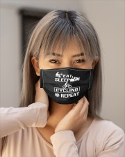 eat sleep cycling repeat mask Cloth Face Mask - 3 Pack aos-face-mask-lifestyle-18