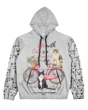 LIFE WITH CATS IS A BEAUTIFUL RIDE Women's All Over Print Hoodie tile
