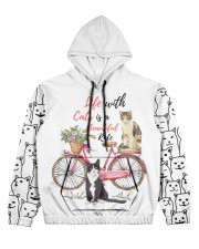 LIFE WITH CATS IS A BEAUTIFUL RIDE Women's All Over Print Hoodie front