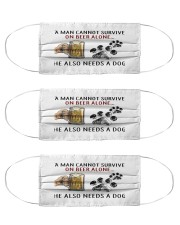 a man cannot survive on beer alone he also mask Cloth Face Mask - 3 Pack front