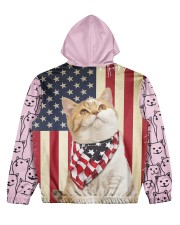 USA FLAt Cat All Over Print Hoodie Women's All Over Print Hoodie back